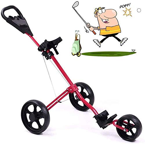 HYQW Golf Trolley, Leichter Faltbarer Golfwagen 3-Rad Golf Push Cart, Mit Verstellbarem Push-Griff, Fußbremse Und Scorecard, Eine Sekunde Zum Öffnen Schließen (rot),Red