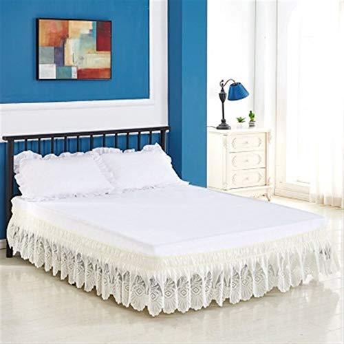Faldas De La Cama Cama elástica Falda Bordada Calidad del Abrigo de la Cama Alrededor de sólido Matrress Encaje Faldas Blanco Beige (Color : Beige 1, Size : 72X80x15 Inch)