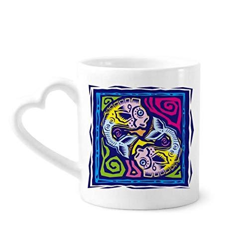 DIYthinker Konstellation Fische Mexicon Kultur Gravieren Kaffeetasse Keramik Keramik-Schale mit Herz Griff 12 Unzen Geschenk Mehrfarbig
