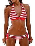 heekpek Traje de Baño Sexy Bañador de Baño Conjunto de Bikini Traje de Baño De Moda Verano Rayas Tops y Braguitas 2 Piezas Traje de Baño (Rojo, M)