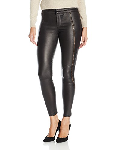 David Lerner Women's Stitched Leather Legging, Black, L