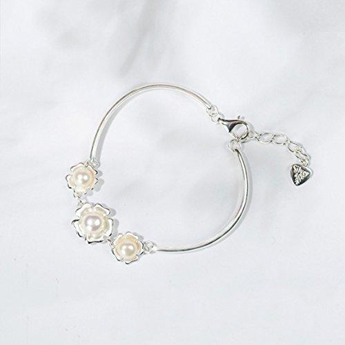 YAXIAO Rosa Flor Perla 925 Pulsera De Plata De Ley Estilo Japonés Y Coreano Enviar Novia Regalo 185mm Pulsera de Mujer