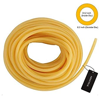 AIRSOFTPEAK Natural Latex Rubber Tubing Speargun Band Slingshot Catapult Surgical Tube Rubber Hose 0.2  OD 0.12  ID 33ft