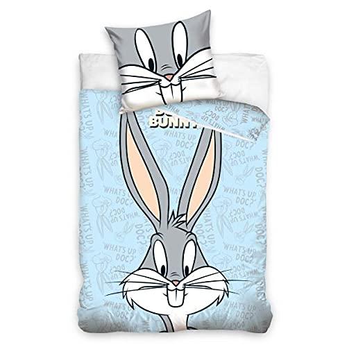 Funda de edredón Looney Tunes Bugs Bunny, azul, 100 x 135 cm, para cuna, 100 % algodón
