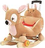 Ccgdgft Rocking Massivholz-Baby-Alter mit Musik Kleinen Schaukelstuhl Spielzeug Baby mit Universal-Rad Pferd Kindern mit Push-Rod Lostgaming