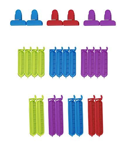 HOVUK Paquete de 26 clips para bolsas de sellado de alimentos, alimentos frescos, nevera, congelador, bolsas reutilizables