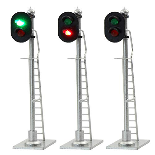 JTD873GR 3PCS Model Railroad Train Signals 2-Lights Block Signal HO Scale 12V Green-Red Traffic Lights for Train Layout New