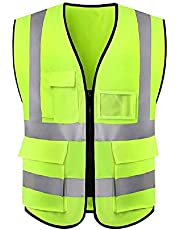 Reflective Safety Vest, High Visibility Vest with Grey Tape, Hi Vis Mesh Breathable Workwear with Pockets and Zipper
