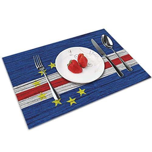 N\A Flagge von Kap Verde Holz Textur Tischplatte Matte Waschbare rutschfeste dekorative Esstischdecke 4er-Set