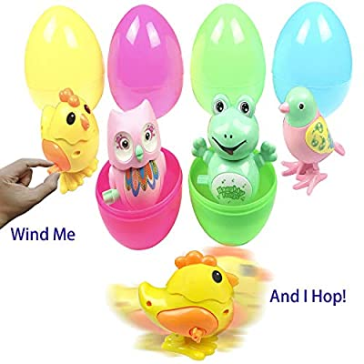 Easter Eggs Easter Basket Stuffers Filled 4 Pack Large Surprise Eggs with Plastic Wind Up Animals Inside, Colorful Pre Easter Eggs For Kids Easter Basket Gifts Fillers