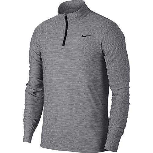 Nike Men's Breathe Dry Quarter Zip Long Sleeve Shirt (Atmosphere Grey/Gunsmoke-Black, Small)