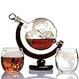 Whisky Set Globe Etched World - Dekanter Set für Bourbon mit 2 Whisky Gläsern im Premium- Geschenkbox- Homebar Zubehör für Männer - perfekt geeignet für alle Arten von alkoholischen Getränken