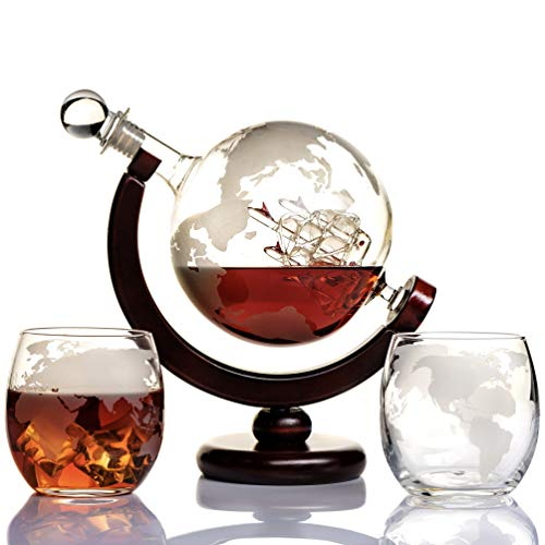 Whiskey Globe Decanter Set Etched World Globe Decanter