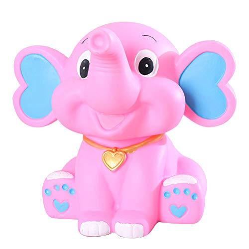 Vosarea - Hucha de resina con forma de elefante para niños, color rosa