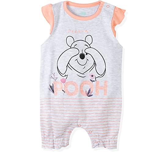 Disney Figuren: Mickey Minnie Mouse, Winnie The Pooh. Baby Jungen Mädchen 100% Baumwolle Sommer Strampler Kurzarm Snap Up Gr. 86 cm, Winnie Puuh, Grau