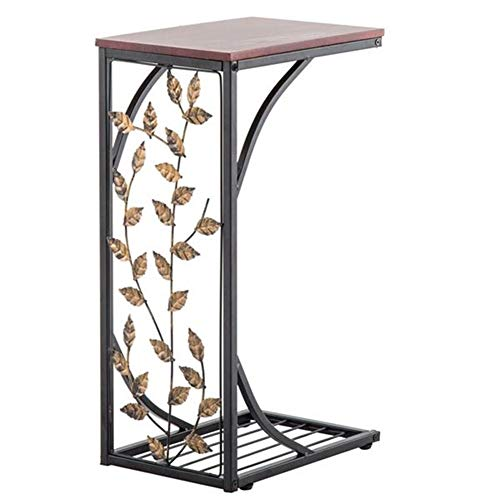 Brown C Side Table Bedside Tables Leaf Pattern Iron Side Table Coffee Table End Table Side Table Bedroom Small Porch Table Laptop Side Table 54 * 30.5 * 21CM
