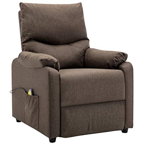 Tidyard Sillón reclinable butaca Sillón de Masaje reclinable de Tela Gris Claro