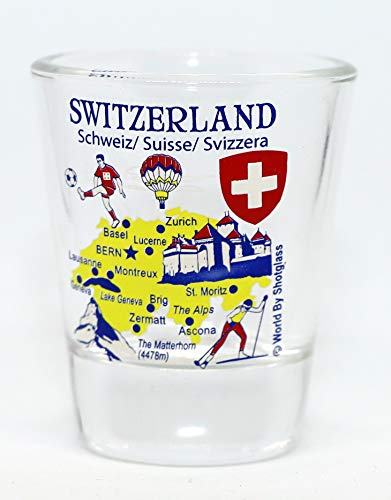 Switzerland Landmarks and Icons Collage Shot Glass
