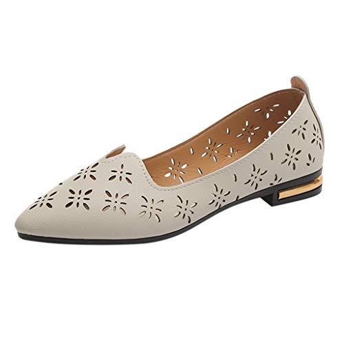 Dorical Damen Erbsenschuhe Slipper Casual Flatschuhe Low-top Große Schuhe Atmungsaktive Freizeitschuhe im Ausschnitt Schuhe,Frauen Freizeit Flache Schuhe Niedrige Schuhe(Beige,36 EU)