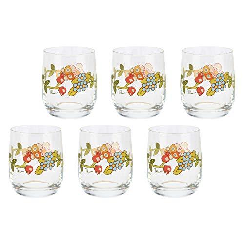 THUN ® - Set 6 Bicchieri Acqua - Vetro Trasparente con Decorazione Floreale - Country - 275 ml - h 9 cm