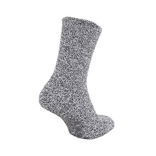 Floso® Kinder Socken mit rutschfester Sohle, warm (31-36 EU) (Grau)