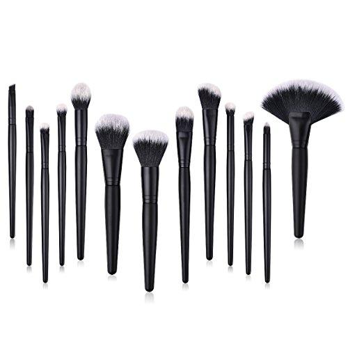 Lurrose 15 cosmétiques, maquillage, brosse, poignée de bois, fibre de nylon, coiffure, yeux noirs.