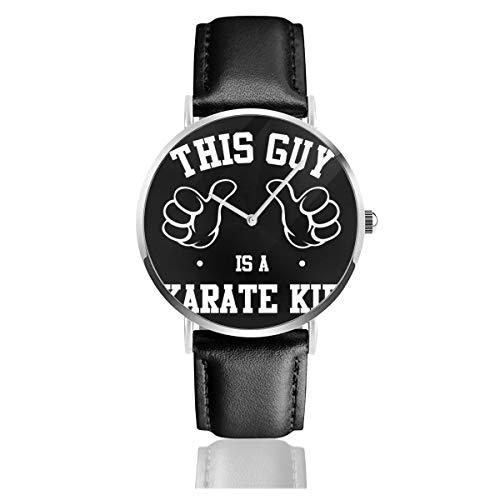 Unisex Business Casual This Guy is A Karate Kid Uhren Quarzuhr Leder schwarz Armband für Männer Frauen Junge Kollektion Geschenk