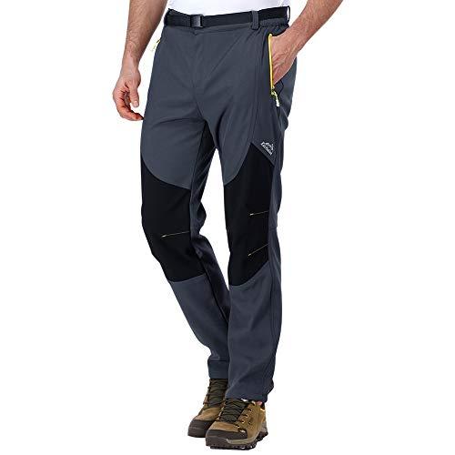 ZOEREA Hombre Pantalones de Trekking Impermeable Invierno Polar Forrado Hombres...
