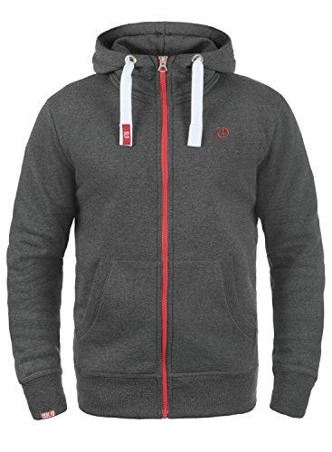!Solid Benn High-Neck Herren Sweatjacke Kapuzenjacke Hoodie Mit Kapuze Reißverschluss Und Fleece-Innenseite, Größe:S, Farbe:Med Grey (8254)