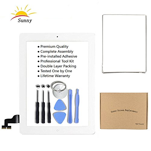 iPad 2 A1395 A1396 A1397 Screen Replacement Digitizer Glass Assembly(White) - Includes Home Button Camera Holder Pre Installed Adhesive Stickers Bezel Frame and Professional Tool Kit