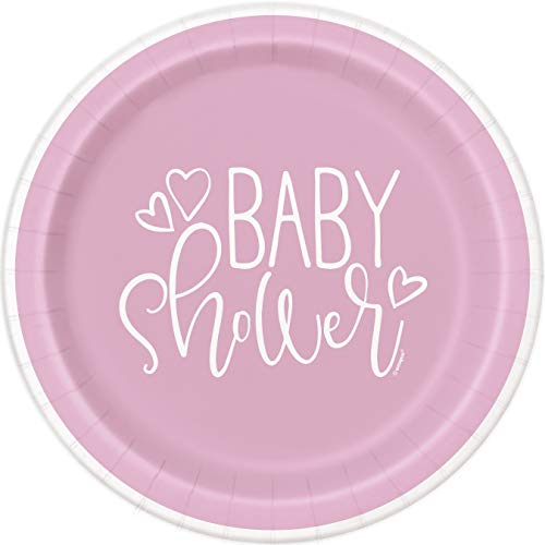 Unique Party 73365 Pink Hearts Baby Shower Round Dinner Plates, 9' 8 Pcs