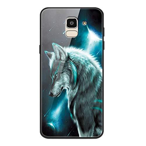 Yoedge Samsung Galaxy J6 2018 Hülle, Stoßfest Hybrid Schutzhülle [TPU Silikon + Glas Rückseite] Glashülle mit Muster Motiv Handyhülle Kratzfeste Hülle Cover für Samsung Galaxy J6 2018 5,6
