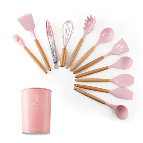 OBR KING Silikon-Küchenutensilien-Set, antihaftbeschichtet, 12 Stück Rose