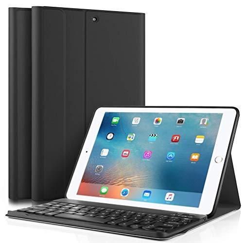 iPad Keyboard Case for iPad 9.7 Inch 2018 (6th Gen) - iPad 9.7 Inch 2017 (5th Gen) - iPad Air 2 - iPad Air 1, Case Cover for iPad Pro 9.7 with Detachable Wireless Keyboard, Auto Wake/Sleep (black)