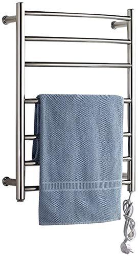 XZGDEN Calentador de Pared de baño Calentador de Toallas Calientes para el baño con calefacción con Calentamiento, Acero Inoxidable 7 Barras pulidas 65 vatios (27.5 Pulgadas x 20.4 Pulgadas)