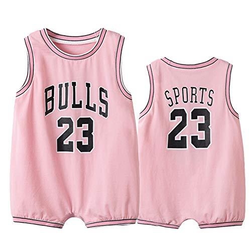 YANGLIXIA 6-30 Monate Outfit Overall Kleidung Krabbelschuhe Basketball Anzug Bulls Jordan #23, ärmellose Basketball Trikots Säuglinge und junge Kinder Baby Jungen rosa - 73 cm