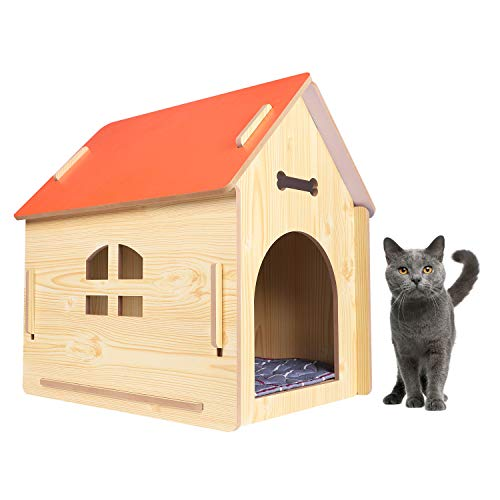 IBLUELOVER Wooden Dog Kennel Detachable Pet House Cat Hiding Cave Shelter with Soft Warm Pet Cushion for Indoor Outdoor Kitten Puppy Rabbit Guinea Pig,Suitable for Pet Weight Under 4KG