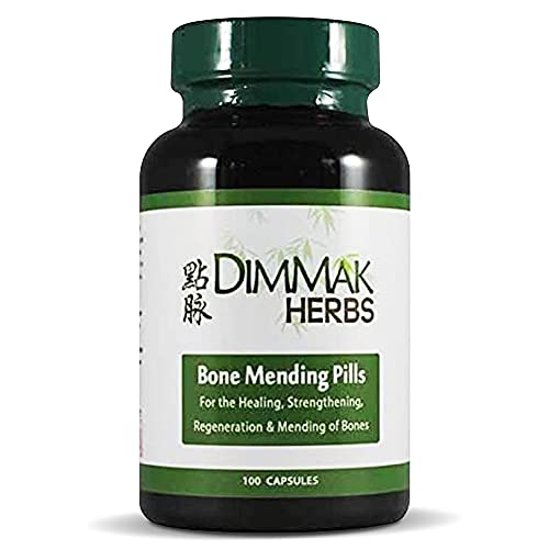 Bone Mending Pills by Dimmak Herbs  Bone Fracture Healing Supplement  Bone Strengthening Pills  Chinese Medicine Herbs and Healing - 400 Milligrams  100 Capsules