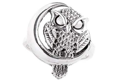 WINDALF Magischer Eulen-Ring AMICA h: 2 cm Mondsichel Hochwertiges Silber (Silber, 62 (19.7))