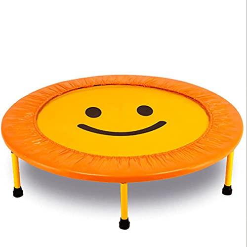 Outdoor Cover Mini trampolín, trampolín Acolchado con Cara Sonriente, trampolín de Fitness para Interiores y Exteriores Adecuado para niños y Adultos (40'× 40' × 9') Amarillo