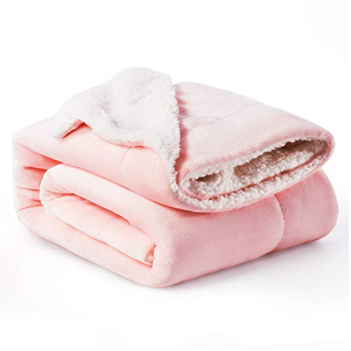 Bedsure Sherpa Fleece Baby Blankets Unisex for Boys, Girls, Kids, Toddler, Infant, Newborn, 30x40 inches, Pink - Fuzzy Warm Cozy Soft Blanket, Plush Microfiber Blanket for Crib Stroller Nap