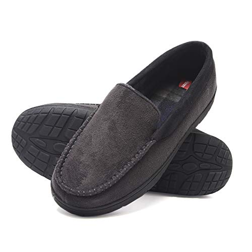 Hanes Men's Moccasin Slipper House Shoe with Indoor Outdoor Memory Foam Sole Fresh IQ Odor Protection (Size Extra Extra Large, Grey)