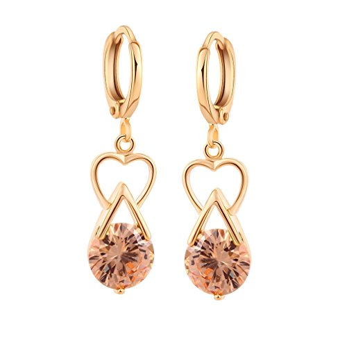 Yazilind 18K Gold Plated Cubic Zirconia Charming Earrings Drop Dangle Earrings for Women Gift Idea