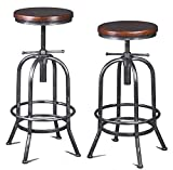 Diwhy Industrial Bar Stool-26-32 Inch Adjustable Swivel Metal Wood Stool Counter Height Bar Stool with Footrest-for Kitchen,Dining Side Chair,Pub,Bistro (Silver 2pcs)
