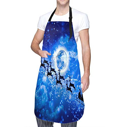 Adult Size Adjustable Bib Winter Holiday Christmas Santa Claus Reindeer Blue Apron Extra Long Ties with Tool Pockets for Gifts-Home Kitchen Baking