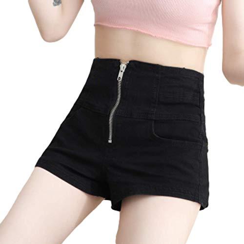 Pantalones Cortos de Mezclilla Ajustados con Levantamiento de glúteos para Mujer Pantalones Cortos elásticos de Moda de Cintura Alta con Control de Barriga Pantalones Cortos de Color sólido con L