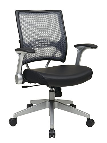 SPACE Seating AirGrid Light Back and Padded Black Eco Leather Seat, 2-to-1 Synchro Tilt Control, Flip Arms, Pneumatic Seat Height Adjustment and Platinum Finished Nylon Base Managers Chair Eco Leather Managers Chair