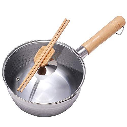 Melk Pan Stainless Steel Butter Warmer Pan Met Dual Giet tuiten for het koken van melk saus Gravies Pasta Noodles (Kleur: Zilver, Maat: 20cm) ZHW345 (Color : Silver, Size : 20CM)