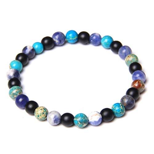 Anime DIY Handmade 6mm Natural Turquoises Stone Beads Bracelet Fashion Malachite Lapis Lazuli Energy Beads Bracelet Women Men Yoga Jewelry,5,17CM