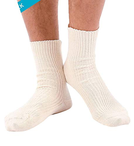 Cottonique Men's Elite Elastic-Free Organic Cotton Socks - 2 Pack M27730 M Natural